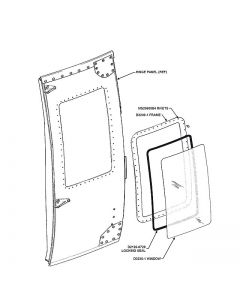 Hinge Panel Door Push-out Window Full Kit, Clear - Fits LH or RH